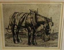"""Robert Sargent Austin (British 1895-1923) """"The Trace Horse 1921"""" Etching, signed in pencil Robert"""