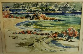 """Robert McDonald Scott (Scottish 1914-1996) """"The North End Iona"""" Watercolour, signed lower right,"""