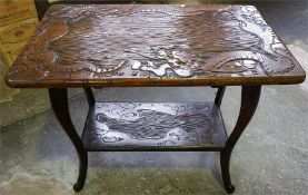 A Chinese Style Hardwood Occasional Table, with under tier, 66cm high, 91cm wide, also with a wicker