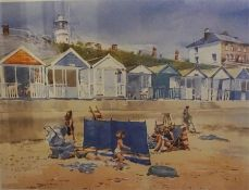 """Mary Gundry """"Bathing Huts"""" Signed Limited Edition Print, signed in pencil lower right, no 72 of 200,"""
