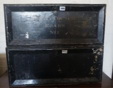 """Two Metal Deed Boxes, one named to the front """"Council county roads no 1"""", 25cm high, (2)"""