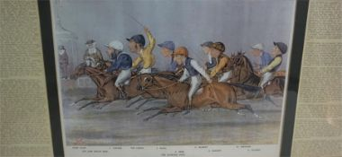 """After Liberio Prosperi """"The Winning Post"""" Cartoon Print, 23 x 35cm, with label to verso, in a modern"""