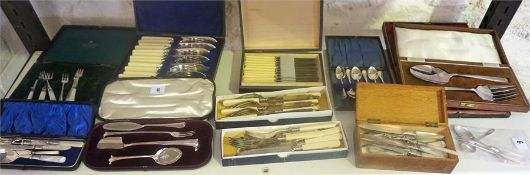 A Quantity Of Boxed Silver Plated Cutlery, to include preserve and pickle sets, mother of pearl