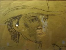 """Attributed To Trevor Owen Makinson (1926) """"Male Portrait"""" Pastel, signed T Makinson,s works to lower"""