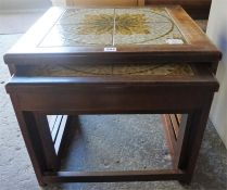 A Retro Nest Of Three Tables, with tiled top, 45cm high,