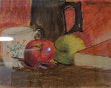 "Attributed To Trevor Owen Makinson (1926) ""Still Life Of Fruit, Jug, Cup & Book) "" Mixed Media,"