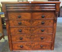 A Victorian Scottish Mahogany Chest Of Drawers, with large drawer above two small drawers and four