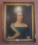 """English School """"Portrait Of A Girl With Plaits"""" Oil On Canvas, circa early 19th century, 50 x"""
