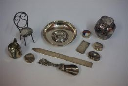 A Small Quantity Of Silver & White Metal, to include a letter opener, three pill boxes, a stamp box,