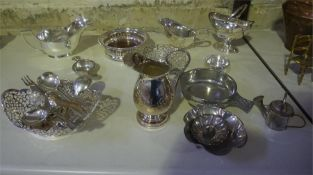 A Quantity Of Brass, Copper & Plated Wares, to include copper measures, copper scoop, brass chestnut