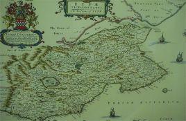 "After Johan Blaeu ""Fife"" Print Map, originally printed by John Bartholomew, 43.5 x 54cm, framed,"