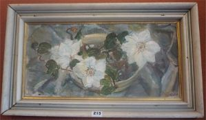 """Annabel A Kidston (Scottish 1896-1981) """"White Clematis"""" Oil On Board, signed lower right, 23.5 x"""