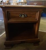 A Pair Of Modern Cherry Wood Bedside Cabinets By Gibbard Craftsmen, with a drawer above open recess,