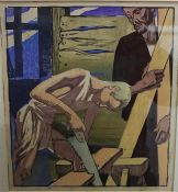"Mabel Alington Royds (British 1874-1941) ""Christ In The Carpenter,s Shop"" Colour Woodcut, 23.5 x"