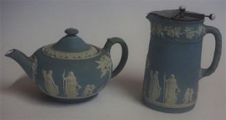 A Wedgwood Jasperware Tea Pot, approximately 15cm high, also with a similar Wedgwood Jasperware