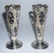 A Pair Of Edwardian Silver Soli Fleurs, Hallmarks for William Henry Sparrow Birmingham 1907,