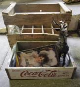 A Small Lot Of Sundry Collectables , to include a wooden bottle crate, a Reproduction Coca-Cola