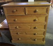 A Pine Chest Of Drawers, with two small drawers above four long drawers, 107cm high, 98cm wide, 50cm
