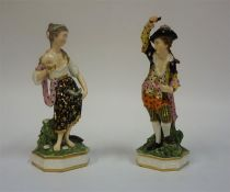A Pair Of Bloor Derby Porcelain Figures, circa 1835, modelled as a male and female, raised on