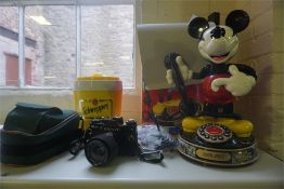 """A Novelty """"Micky Mouse"""" Telephone by My Belle, 40cm high, with fitted box, also with a Zenit 12 xP"""