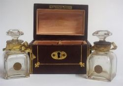 A Pair Of French Glass Scent Bottles, circa 1900, in a Rimmel of Paris tooled red leather travel