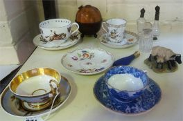 A Mixed Lot Of Porcelain & Collectables, to include a Dresden cabinet cup with saucer, a Meissen