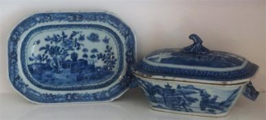 An 18th Century Chinese Blue & White Tureen On Stand, Qianlong period, Decorated with allover panels