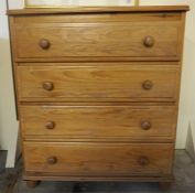 A Pine Chest Of Drawers, with four drawers, 88cm high, 77cm wide, 48cm deep.