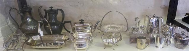 A Quantity Of Silver Plated Wares, to include a Victorian mug engraved 1888, cake baskets, tea
