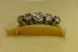 A 9ct Gold Diamond Five Stone Ring, overall weight 1.8 grams