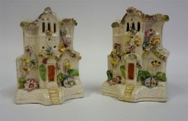 A Pair Of 19th Century Staffordshire Pottery Pastille Burners, in the form of cottages, Decorated