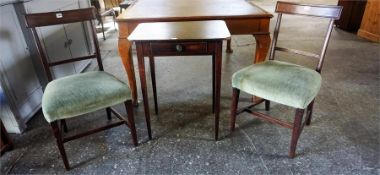 A Pair Of Early Victorian Mahogany Dining Chairs, with tablet top, 86cm high, also with an