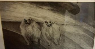 """Douglas Robertson 20th Century """"Dogs For Three Gaelic Poets"""" Charcoal, 21.5 x 40cm, titled to verso,"""