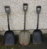 Three Assorted Vintage Railway Firemans Shovels, with wooden shafts, 110, 117cm high, (3)