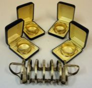 Four Matching Silver Napkin Rings, Hallmarks for Birmingham, with engraved initials, 1.890 oz,