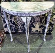 A Half Moon Hall Table, Upholstered in later fabric, 74cm high, 35cm wide, 39cm deep