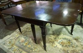 A Late Victorian Mahogany Drop Leaf Table, Adapted from a larger table, raised on six reeded