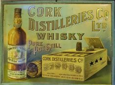 A Vintage Painted Tin Advertising Sign for Cork Whisky Distilleries, Painted in gold lettering
