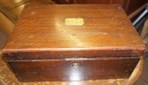 A Victorian Lap Desk, With metal carry handles, 18cm high, 43cm wide