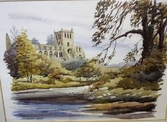 """Lockey """"Jedburgh Abbey"""" Watercolour, signed to lower right, 25 x 35.5cm, framed"""