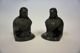 A Pair of Bronze Bookends, in the form of a bronze bust of Queen Victoria, raised on a veined marble