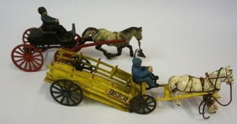 A Continental Model of a Painted Cast Iron Four Wheel Cart, with cast iron dapple grey horse and