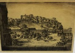 """Wilfred C Appelby """"Edinburgh Castle from Scott Monument"""" Etching, 20 x 30cm, signed in pencil,"""