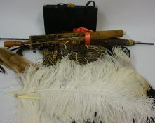 A Quantity of Haberdashery, to include a Riviera evening bag, parasols, fur collar, feather fans,