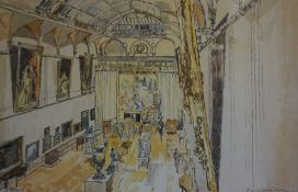 """John Linfield (British 1930) """"At the Art Gallery Brighton"""" Watercolour, 31 x 49cm, signed and"""