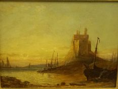 """Attributed to Sam Bough RSA (1822-1878) """"Lindisfarne Castle"""" Oil on Board, signed indistinctly"""