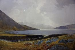 """Tom Scott RSA (Scottish 1859-1927) """"St Mary,s Loch From Below Henderland"""" Watercolour, signed and"""