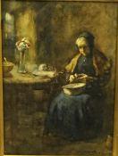 "John Rennie McKenzie Houston RSW (1856-1932) ""Old Woman Peeling Potatoes"" Watercolour, signed to"