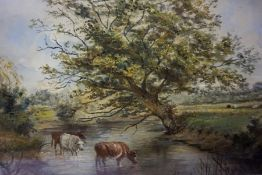 """British School """"Cattle Drinking In Lake"""" Watercolour, signed Bryant to lower left, 19 x 29cm,"""