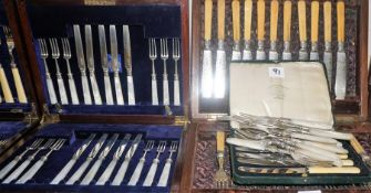 A Mixed Lot of Silver Cutlery, to include eleven matching silver fish knives and forks with bone